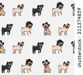 seamless cartoon pugs pattern   Shutterstock .eps vector #311374859