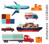Freight Cargo Transport Icons...