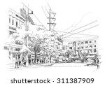 sketch drawing of city street...   Shutterstock . vector #311387909