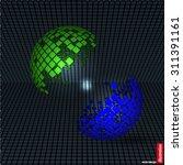 half sphere from disintegrated... | Shutterstock .eps vector #311391161