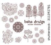 Set Of Ornamental Boho Style...
