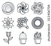 black lineart icon set. flowers ... | Shutterstock .eps vector #311406704