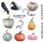 Watercolor Halloween Set. Hand...