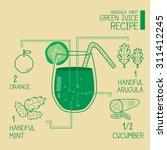 arugula mint green juice... | Shutterstock .eps vector #311412245