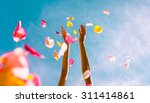hands throwing rose petals.  ... | Shutterstock . vector #311414861