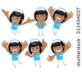 nursing staff in different poses | Shutterstock .eps vector #311434037