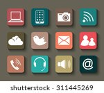 set of the colorful media icons ... | Shutterstock .eps vector #311445269