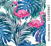 pink flamingos  tropical palm... | Shutterstock .eps vector #311450867