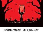zombie hand holding smartphone... | Shutterstock .eps vector #311502329