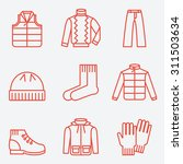 Stock vector clothes icons thin line style flat design 311503634