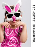 Small photo of Child with Bunny Mask Background / Child with Bunny Mask / Child with Bunny Mask on Isolated White Background