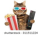 Stock photo cinema concept funny cat in the d glasses with popcorn basket it is holding a remote control to 311511224