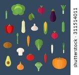 vegetables flat design isolated ... | Shutterstock .eps vector #311514011
