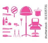 hair salon equipments set ... | Shutterstock .eps vector #311535731