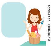 girl showing product and... | Shutterstock .eps vector #311540201