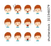 emoticon icons set of cute boy... | Shutterstock .eps vector #311548379