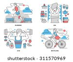 flat line illustration set of... | Shutterstock .eps vector #311570969