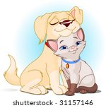 Cute Dog And Cat Best Friends...