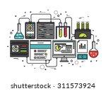 thin line flat design of... | Shutterstock .eps vector #311573924