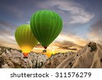 Hot Air Balloons Green And...