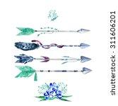 vector watercolor floral set ... | Shutterstock .eps vector #311606201
