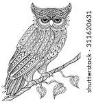 Zentangle Magic Owl Sitting On...