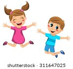 happy kids jumping isolated | Shutterstock .eps vector #311647025