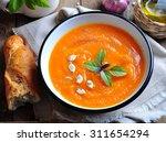 vegetarian pumpkin soup with... | Shutterstock . vector #311654294