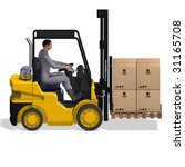rendering of a forklift with... | Shutterstock . vector #31165708