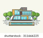 illustration of modern house in ... | Shutterstock .eps vector #311666225