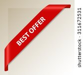 best offer   red corner ribbon  ... | Shutterstock .eps vector #311672531