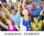 crowd learning celebrating... | Shutterstock . vector #311680421