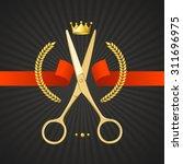 scissors barber concept golden...   Shutterstock .eps vector #311696975