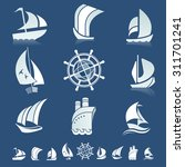 set of nine icons with boats... | Shutterstock .eps vector #311701241