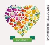 fruits and vegetables arranged... | Shutterstock .eps vector #311701289