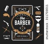 barber shop design elements set ... | Shutterstock .eps vector #311703011