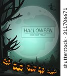 moon light in halloween day and ... | Shutterstock .eps vector #311706671