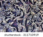 carved wood wall close thai... | Shutterstock . vector #311710919