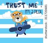 Pilot Teddy Bear Cartoon Vecto...