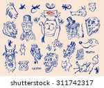 big vector set of hand drawn... | Shutterstock .eps vector #311742317