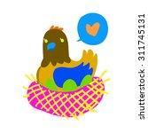 cartoon hen flat mascot icon....