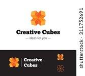 vector modern orange geometric... | Shutterstock .eps vector #311752691