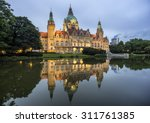 Stock photo city hall of hannover germany by night 311761385