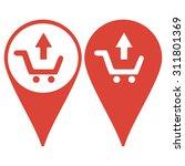map pointer. shopping cart flat ...