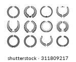 vector laurel wreath flora... | Shutterstock .eps vector #311809217