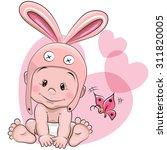 cute cartoon baby in a rabbit... | Shutterstock .eps vector #311820005