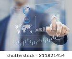 businessman touching financial... | Shutterstock . vector #311821454