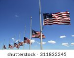 Seven  7  American Flags At...