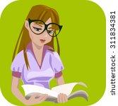 Smart Cute Girl Reading Book...