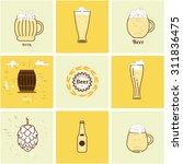 flat icons beer bottles  cups ... | Shutterstock .eps vector #311836475
